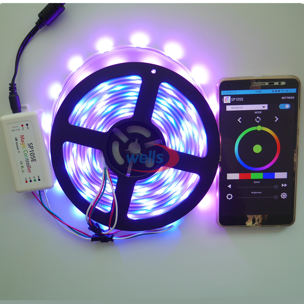 New Bluetooth SPI LED controller, for many kinds of IC pixels lights(WS2801 WS2811 LDP6803 SK6812 WS2812B pixel Strip SP105E)