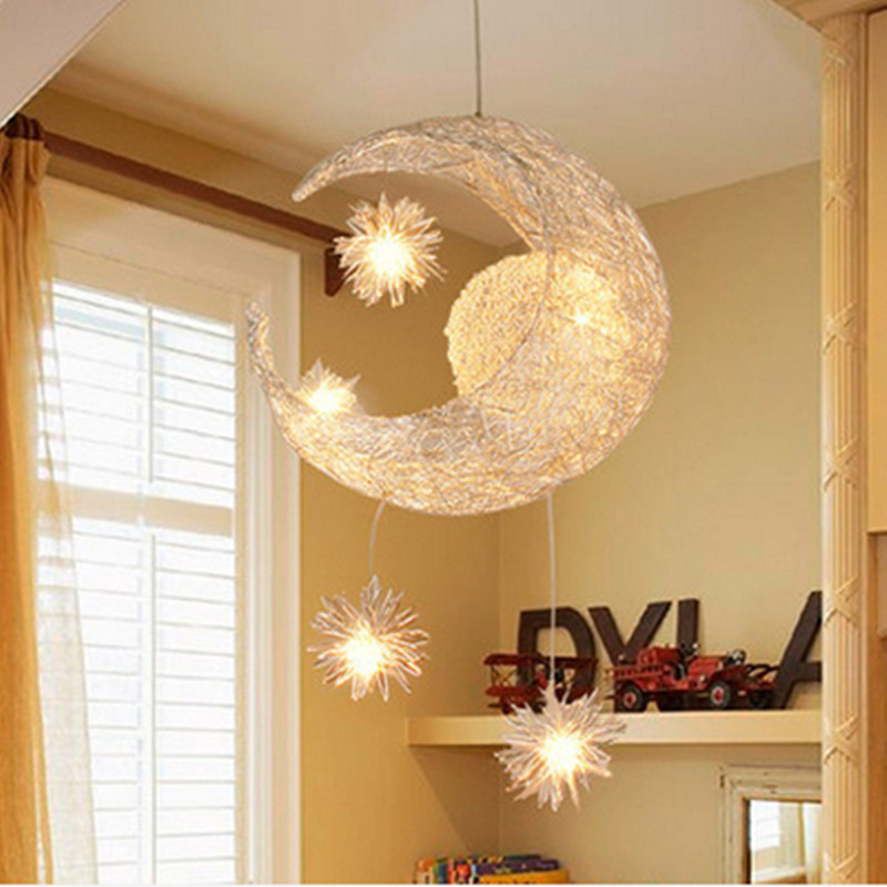 Modern LED Chandelier Lighting Moon& Star Sweet Bedroom Pendant Lamp Lustre Hanging Fixtures Child kids room Decor Light Fitting