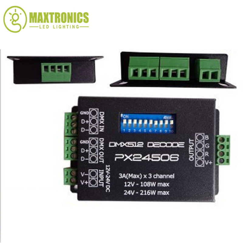 PX24506 led controller led decoder DMX 512 Decoder Driver 9A DMX 512 Amplifier 12V 24V RGB LED strip Lights