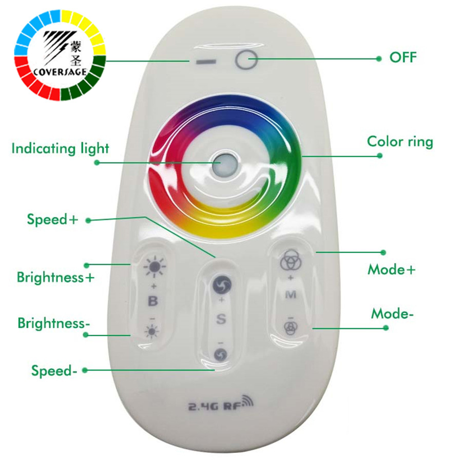 Coversage 2.4G LED RGB Controller DC12-24V Touch Screen RF Remote Control for RGB LED Strip Bulb Downlight 3528 5050 RGB