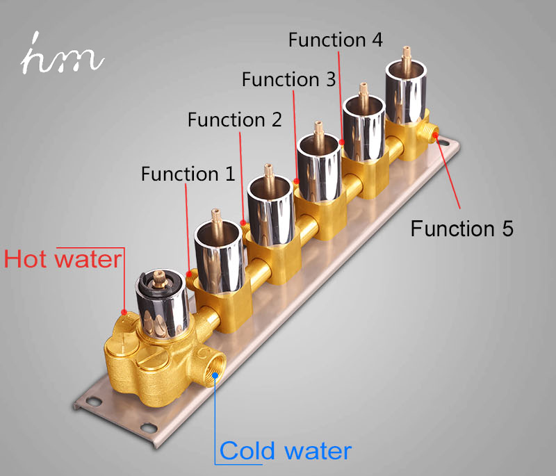 Bathroom Shower Valve Large Water Flow Solid  Shower Accessories 5 ways Chrome Brass Panel Diverter Faucet Tap Shower Controller (13)