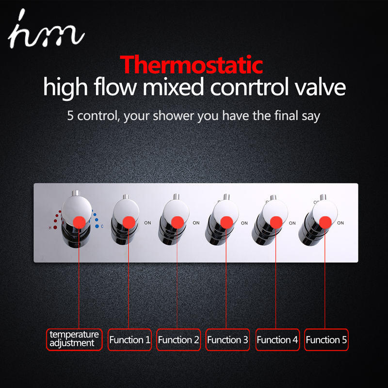 hm Bathroom Shower Valve Large Water Flow Shower Accessories 5 ways Thermostatic Brass  Diverter Faucet Tap Shower Controller