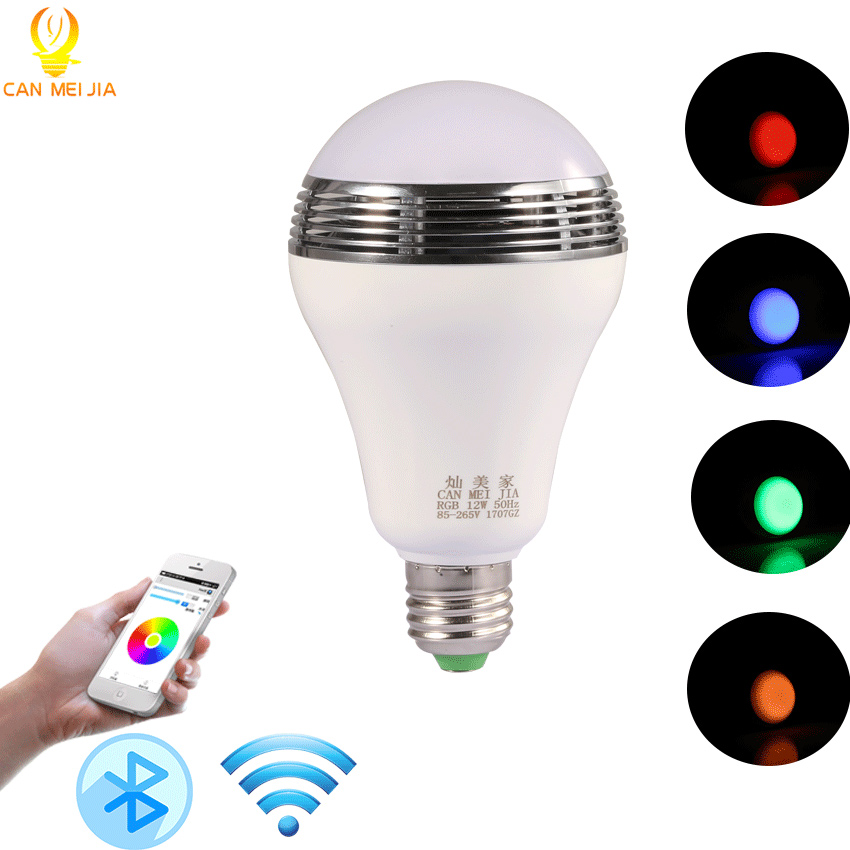 Smart E27 RGB Led Bulb Light Bluetooth Speaker Music Lamp Dimmable Led Lights for Party Home decorations +Remote Control 85-265V