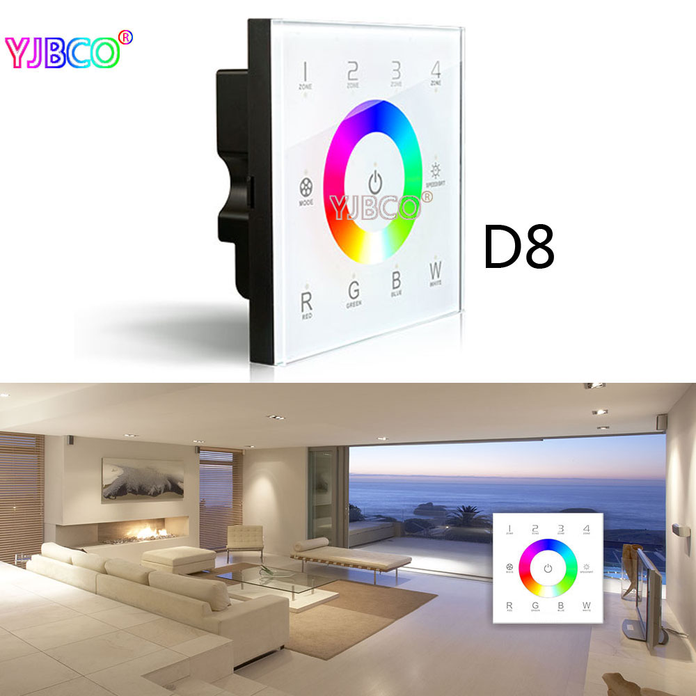 ltech 2.4G DC12-24V D5 D6 D7 D8 touch glass panel wall mounted dimming CT RGBW dimmer control 4 Zones DMX512 LED strip lamps