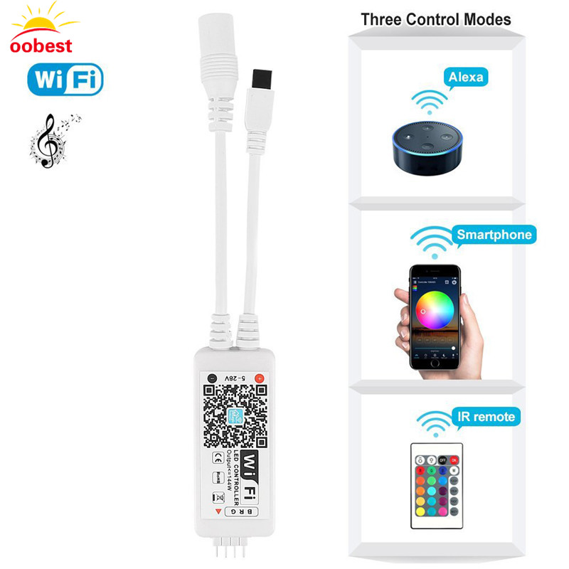 OOBEST Mini Bluetooth / WiFi LED RGB / RGBW Controller iOS Android APP Remote Controler for 3528 5050 LED Strip DC 5V 12V 24V