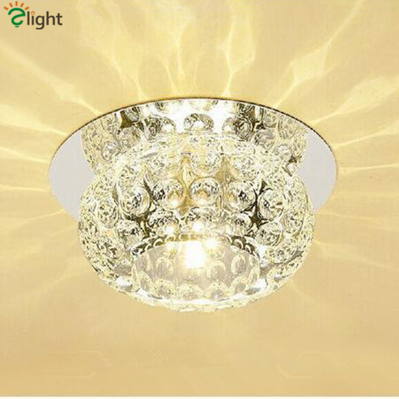 Modern Lustre Crystal Led Ceiling Chandelier Light Simple Chrome Metal Corridor Led Chandeliers Lighting Porch Luminaria Fixture