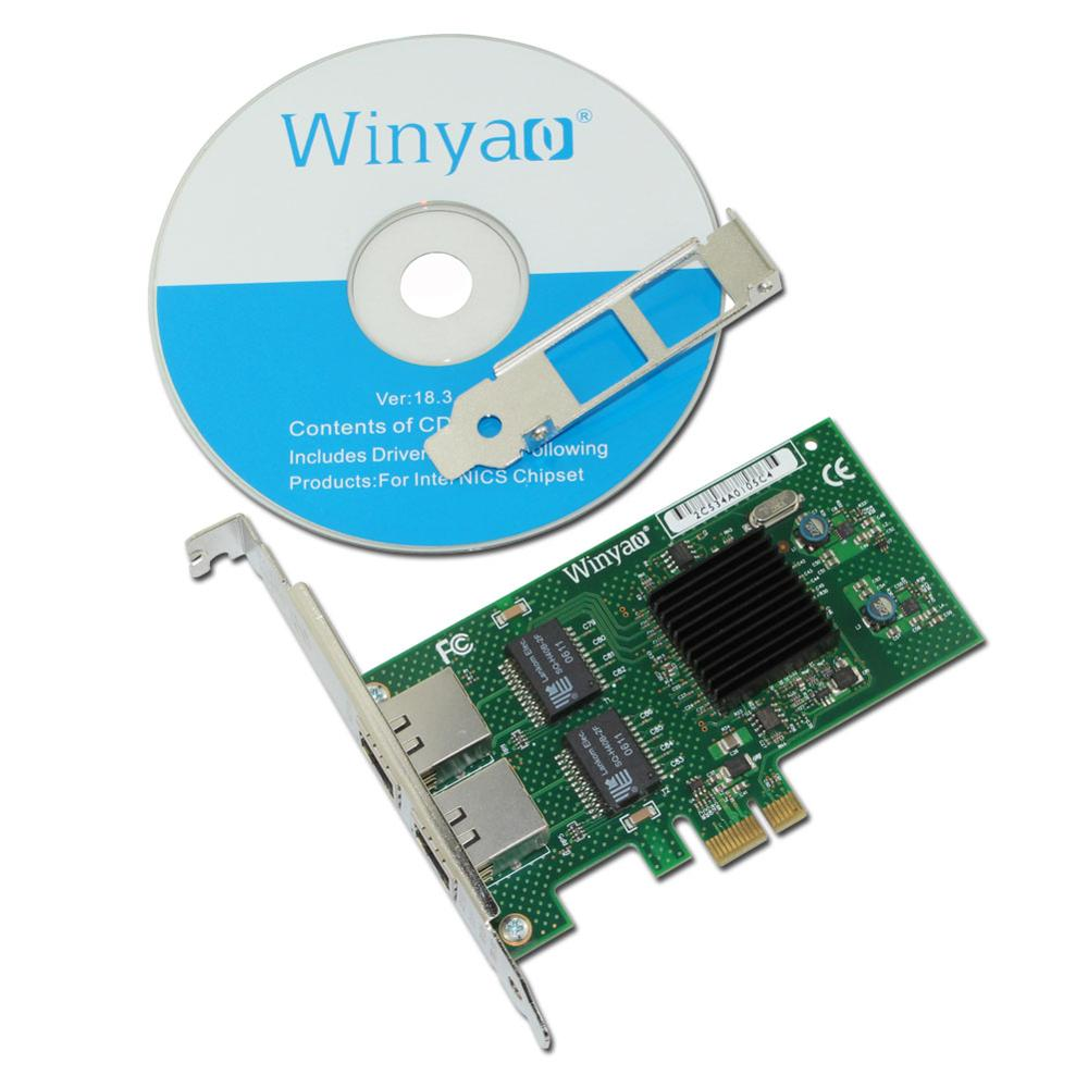 Winyao WY575T2 PCI-E X1 Dual-port Gigabit Ethernet Network Card 10/100/1000Mbps LAN Adapter Controller For 82575 E1G42ET