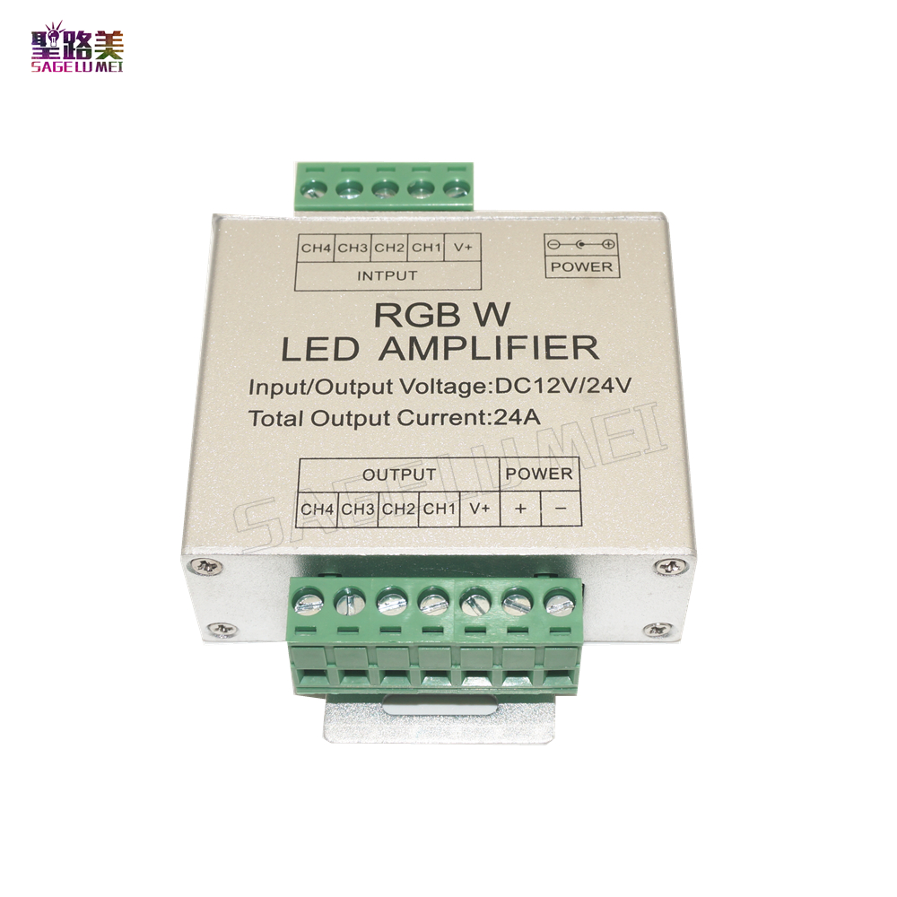 LED RGBW Amplifier DC12V/ 24V 24A 4 Channel 4CH Output RGBW LED Strip Power Repeater Console Controller For rgbw led strip tpae