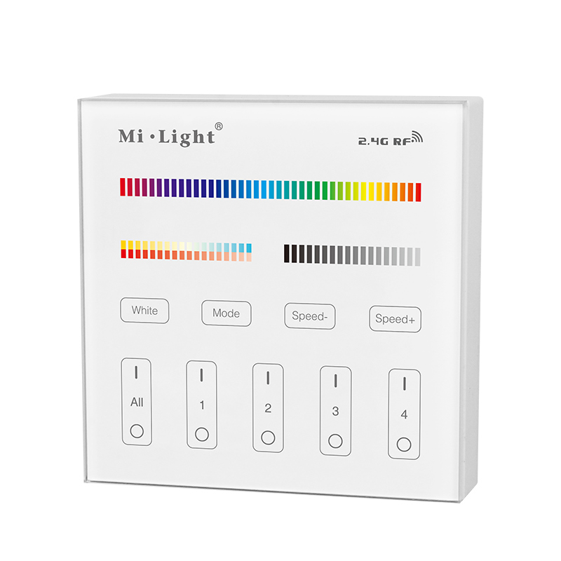 Mi Light 2.4G RGB+CCT Wall Hanging LED Touch Panel Remote Controller + 2.4G RGB+CCT LED Controller for Led Strip Bulb Downlight