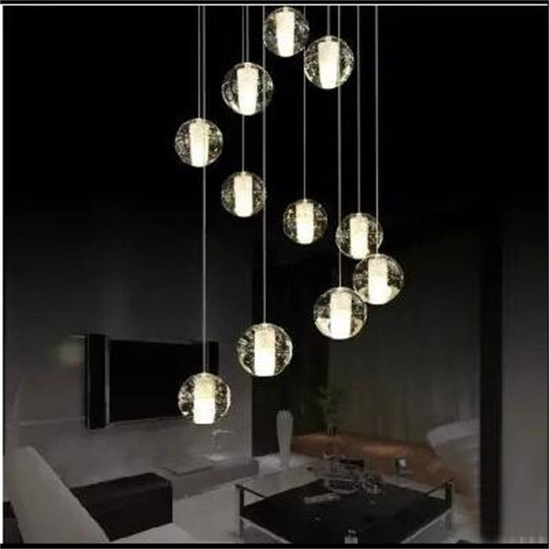 G4 LED Crystal Glass Ball Pendant Lamp Meteor Rain Meteoric Shower Stair Bar Droplight Chandelier Lighting AC110-240V