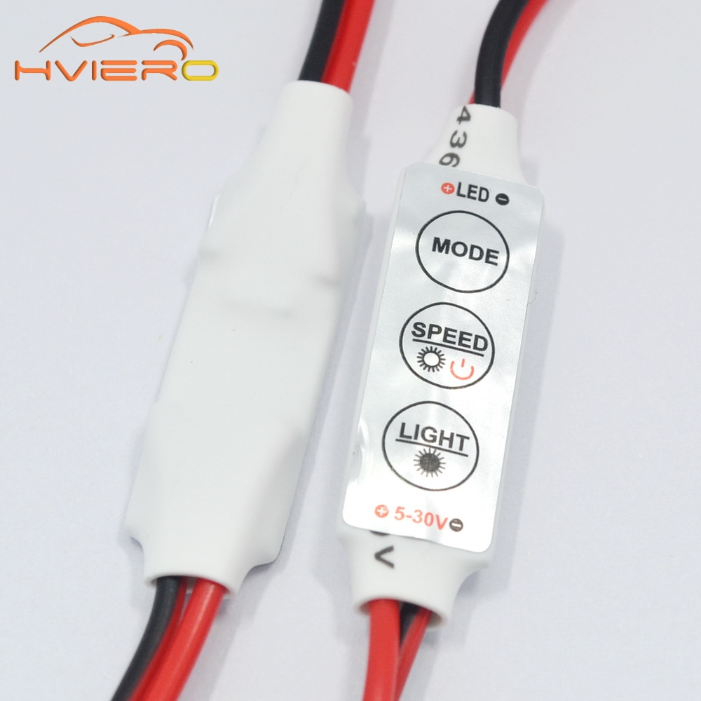 1pcs Mini Single Color LED Light Mini Dimmer Controller 3keys for 2835 3528 5050 LED 5-30V Flexible Led Strip Holiday Lighting