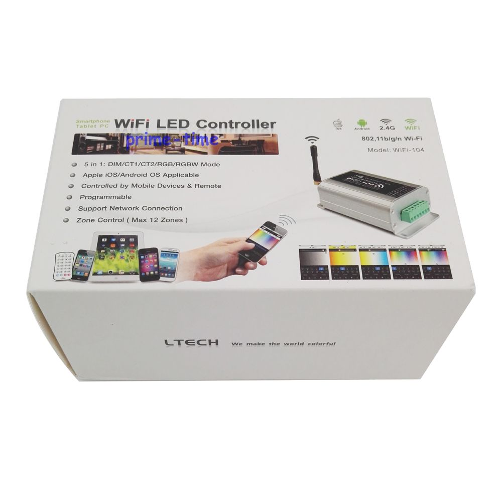 LTECH WiFi-104 LED wifi controller with M12 IR remote;2.4GHz Wi-Fi;supports max 12 zones control;4A x4CH Max 16A output wifi 104