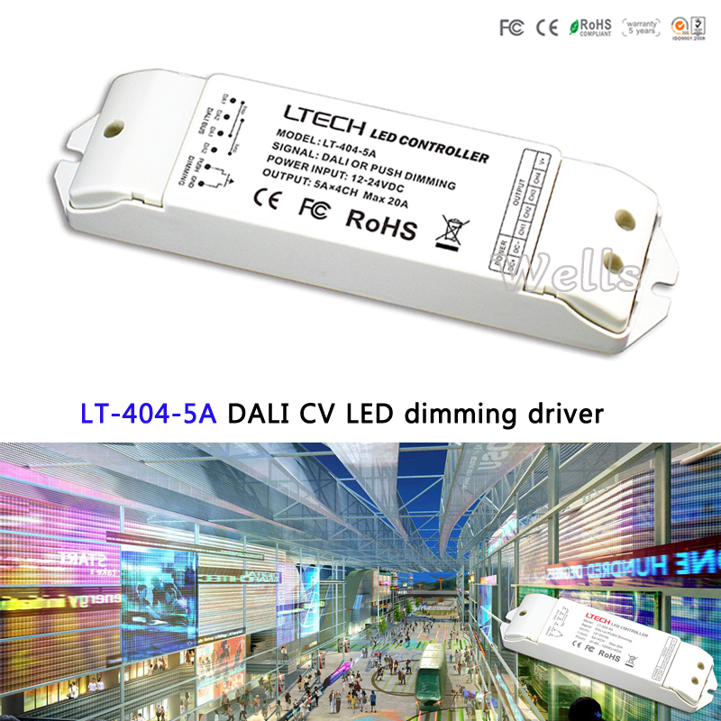 LTECH DALI Led Dimming Driver,LT-404-5A;5A*4CH Max 20A output;DALI/Push button signal input DC5-24Vfor single color led strip