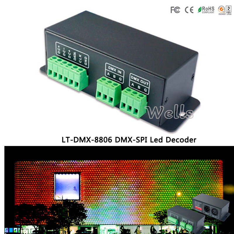 DMX-SPI Led Decoder LT-DMX-8806 ;support LPD8803,LPD8806,LPD8809,LPD8812 data protocol DMX Decoder for led pixel screen