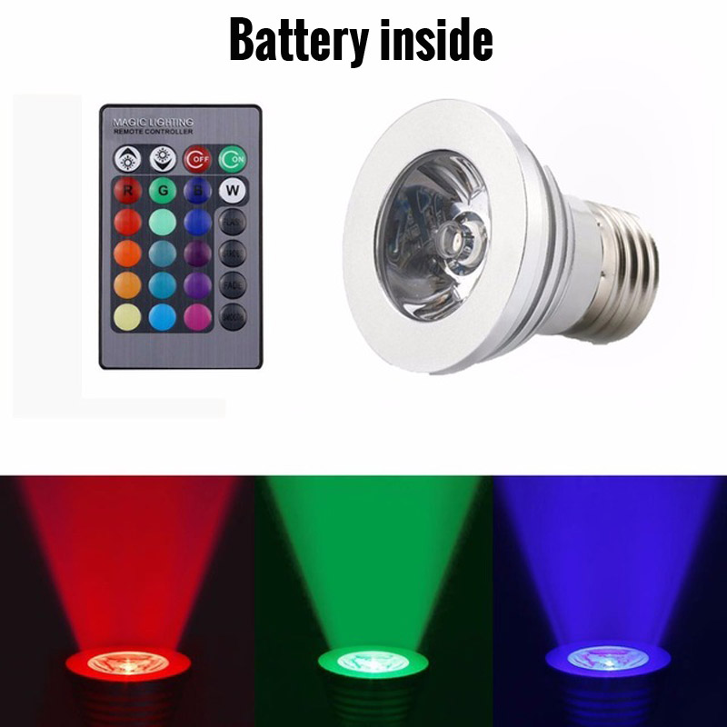 3W RGB E27 LED Bulb Spotlight 110v 220v 16 Color Dimmable Spot Light Home Party Holiday Bombillas LED Lamp + Remote Controller