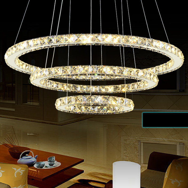 PEARMON 3-Rings Diamond Crystal LED Pendant Lights Round Circle Ceiling Lamp adjustable DIY modelling Lights Fixtures AC100-240V
