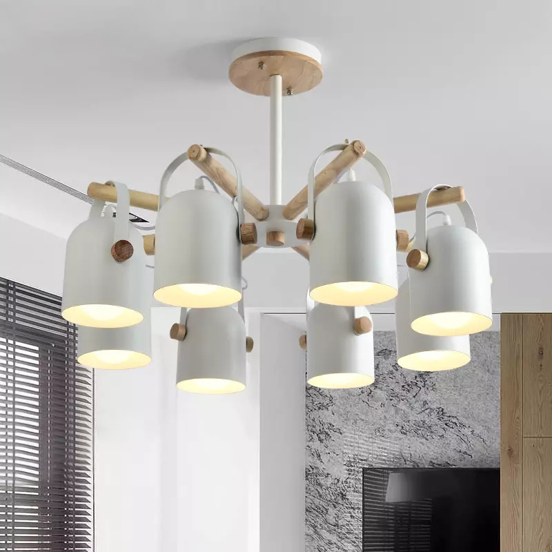 Simple Nordic chandelier Light Home Lighting 3 head 8 head Hanging Lamp Wooden iron Lampshade E27 bulb Bedroom livingroom light