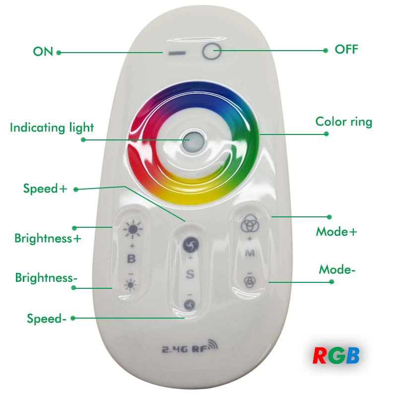 RGBW RGB LED Controller Touch Screen 2.4G DC12 24V 18A Remote Controller Channel For 5050 5630 RGB RGBW Strip Lights