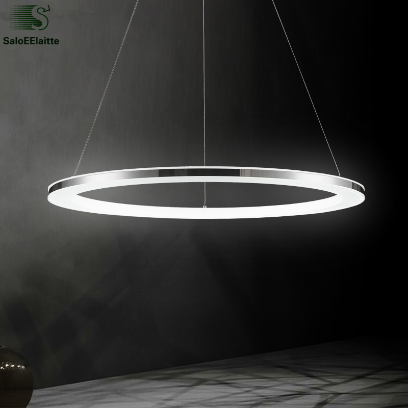 Modern Minimalism Aluminium Acrylic Ring Led Chandelier Remote Control Dimmable luminaria Led Pendant Chandelier For Foyer
