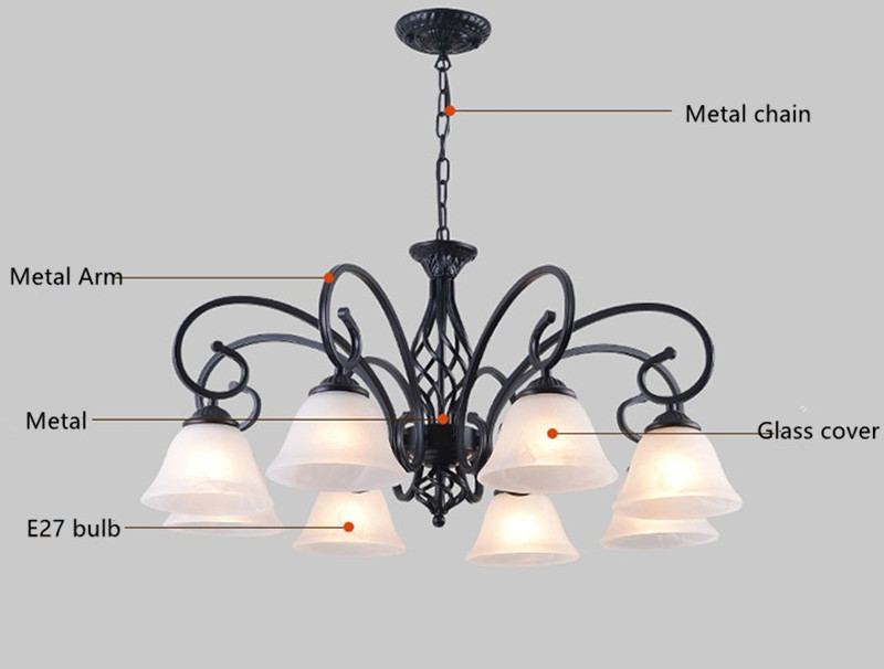 Modern Metal Body Glass lampshade Chandelier E27 Led bulb Light Ceiling Lamp European Traditional Decoration Lighting Fixture