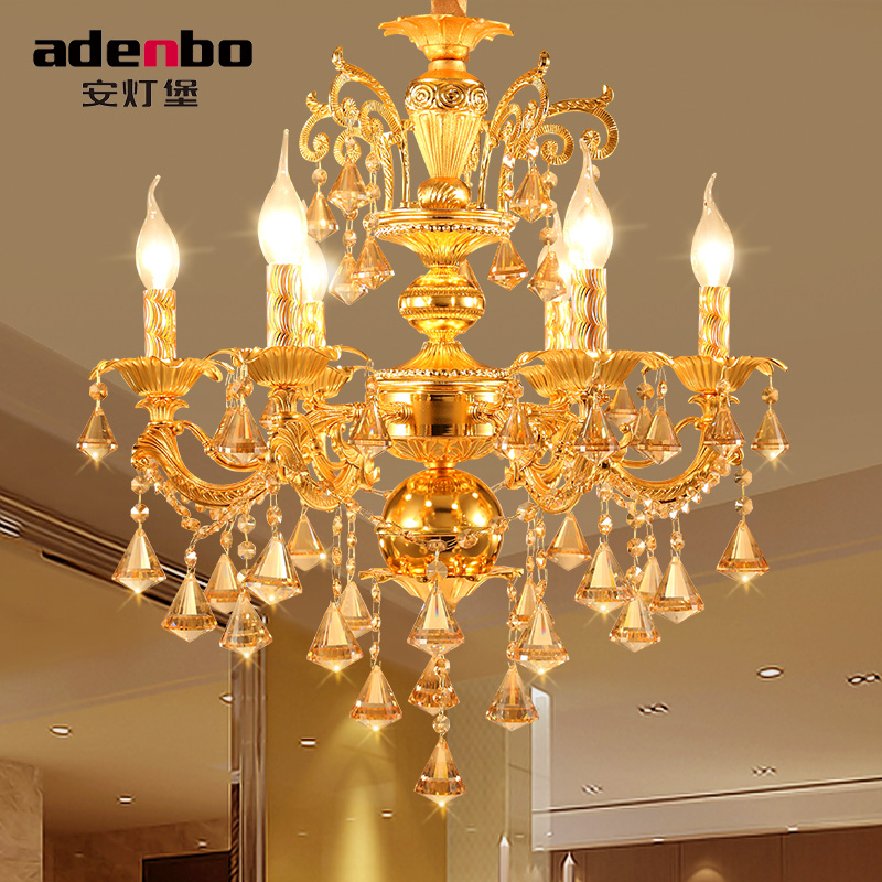 Modern Candle Chandelier Wrought Gold LED Crystal Chandeliers Lighting Fixture Switch Control Hanging Lamp For Decor