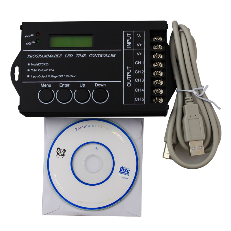 12V-24V 5CH * 4A single color LED time RGB controller for led strip IR remote control USB cable common anode timer dimmer