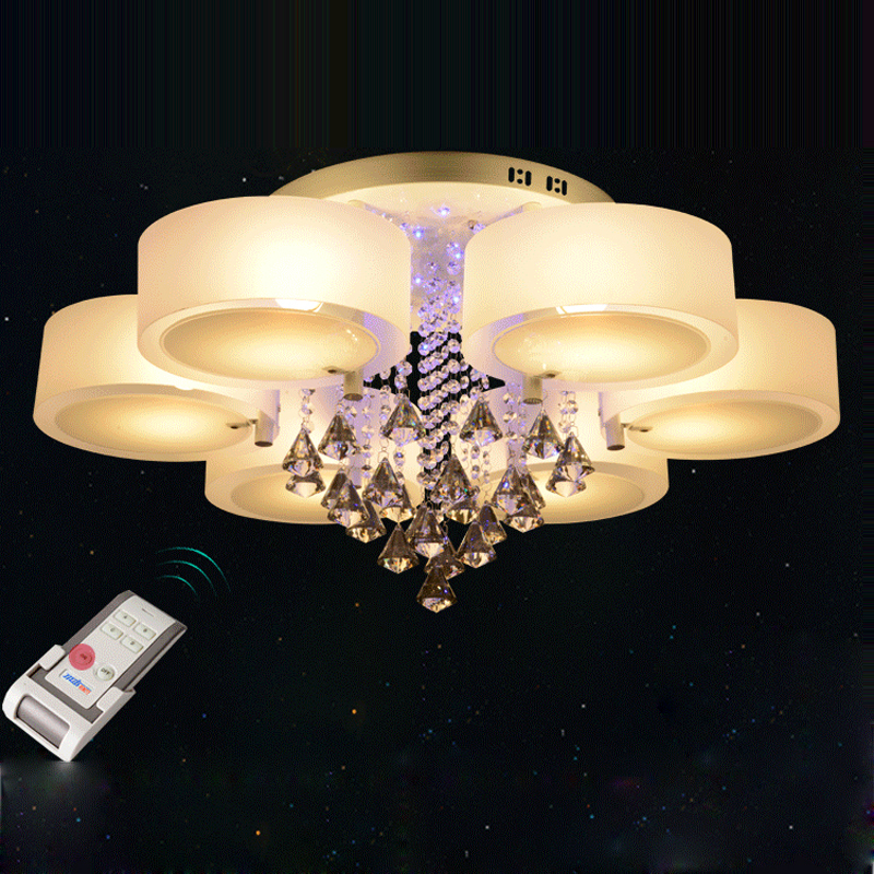 Ecolight Modern Chandelier Crystal with Remote Control 6 Lights Led Chandeliers Light for Bed Living Room 220-240 Volt