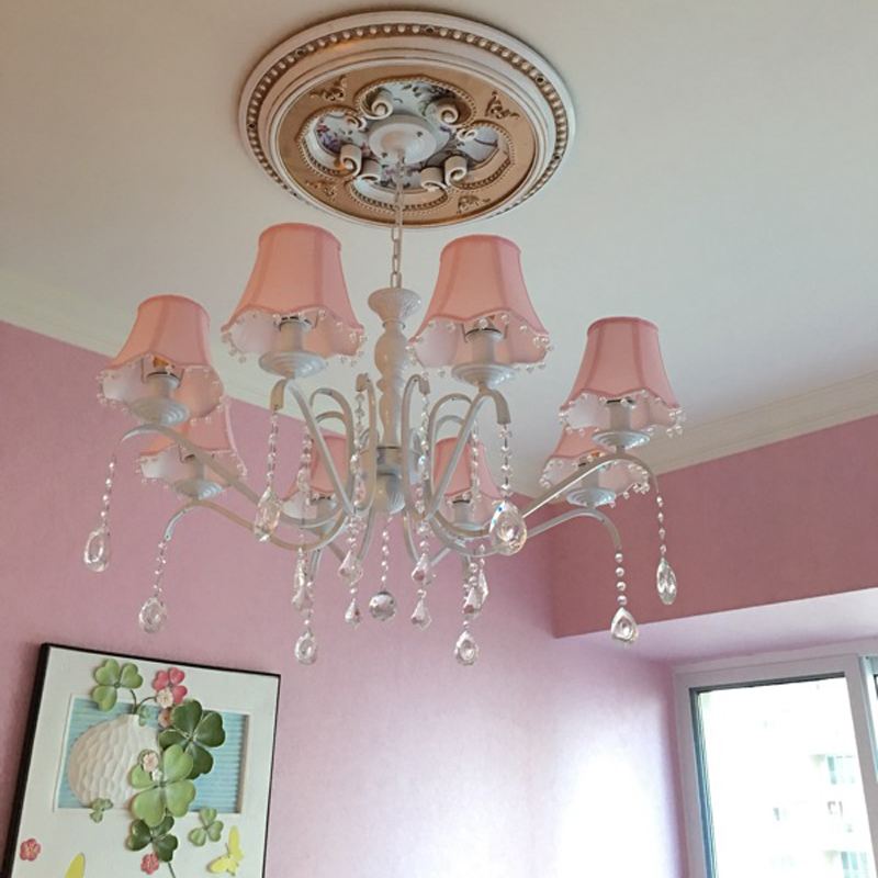 American children's room chandelier girl Princess Pink cloth simple European Mediterranean bedroom iron crystal lamp Chandeliers