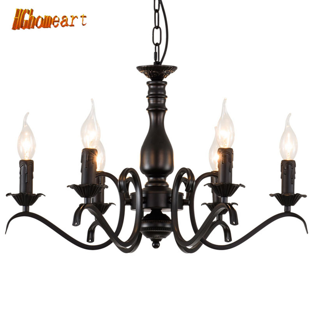 HGhomeart Chandeliers Iron Candle Light European style OD-204 Living Room Restaurant  Bedroom Creative Bar Retro Chandelier
