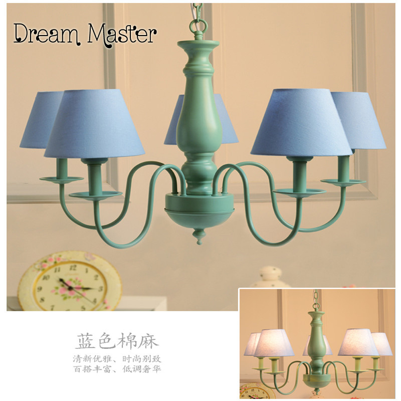 Modern minimalist North American style rural pastoral Iron Chandelier Mediterranean green living room bedroom dining room lamps