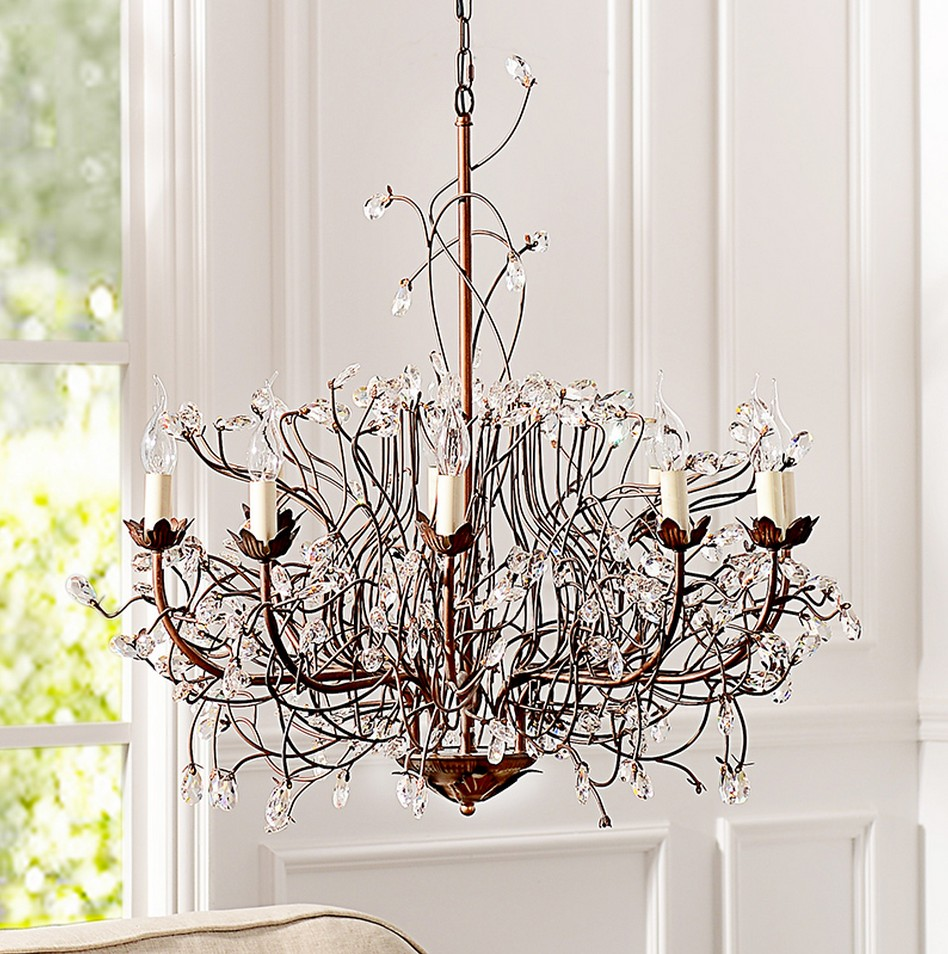 European vintage iron flower chandelier lamp home deco living room retro crystal tree E14 LED bulb chandeliers light fixture