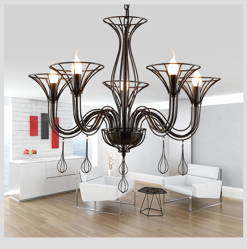 Nordic simple LED Chandelier Iron American country style LOFT Cafe Bedroom Resturant Personality creative fashion LED light