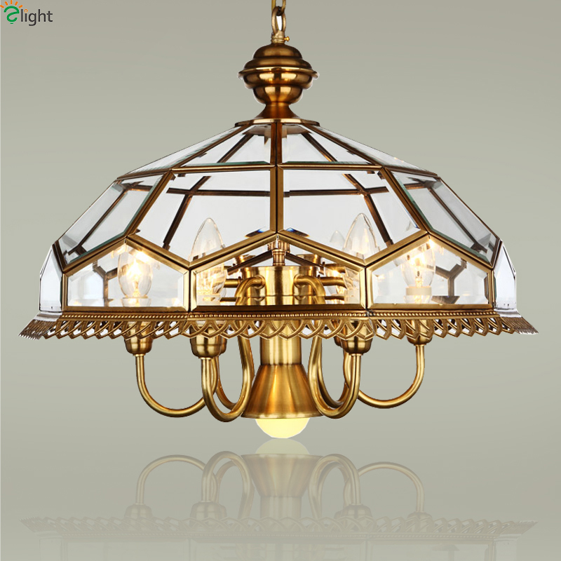 Europe Lustre Copper Led Chandeliers Lamparas Glass Dining Room Led Pendant Chandelier Lighting Bedroom Hanging Lights Fixtures