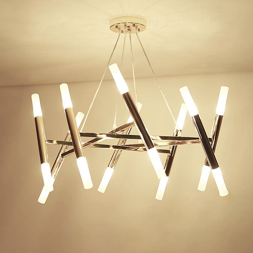 Modern Nordic Chandelier Light Fixture Lustres Round Suspension Lamp G9 Flush Mounted Drop Lamparas for Living room Hotel