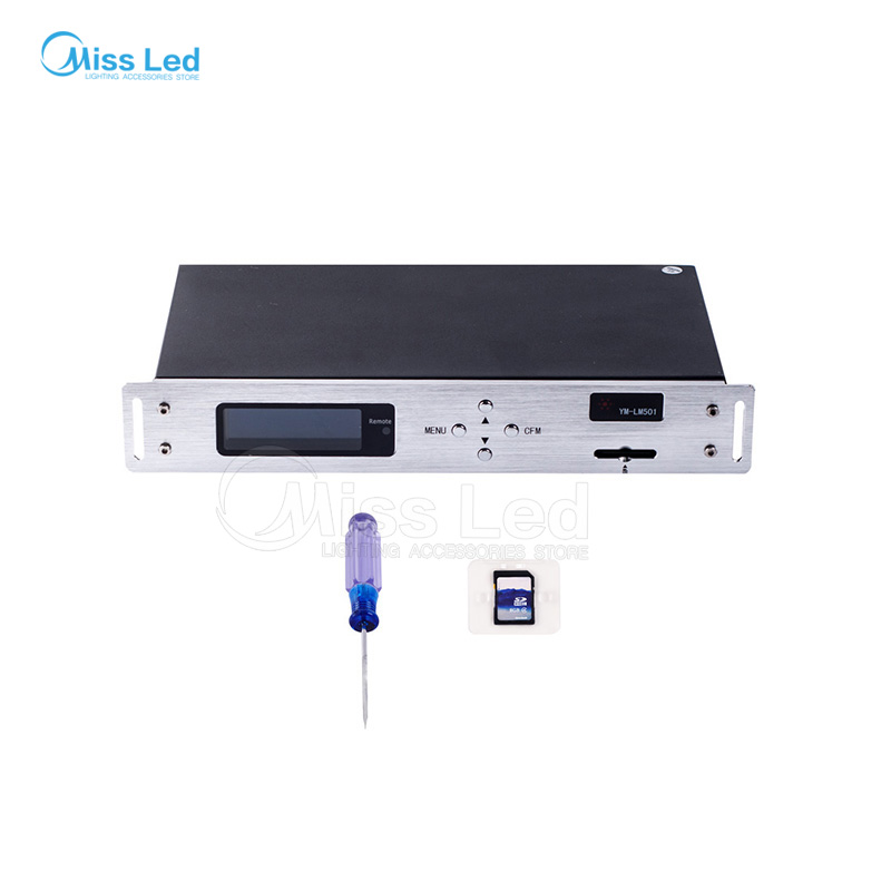 YM-LM501  WS2812 LED on-line controller ws2812B/ws2811 SD card  Ethernet connection LED controller  4 output ports AC220V