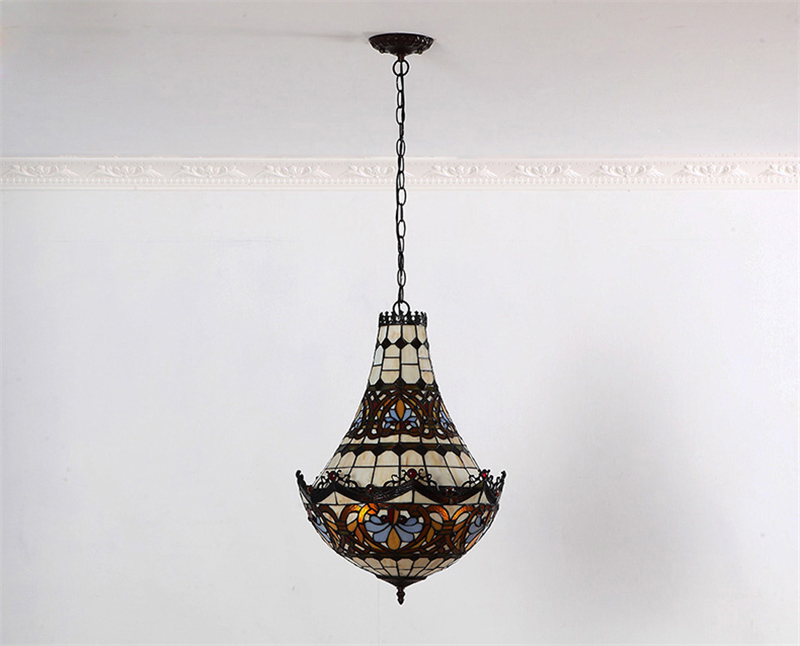 FUMAT Stained Glass Chandeliers European Style Glass Art  Lights Living Room Dining Room Classic Lamp Tiffany Baroques Lamparas