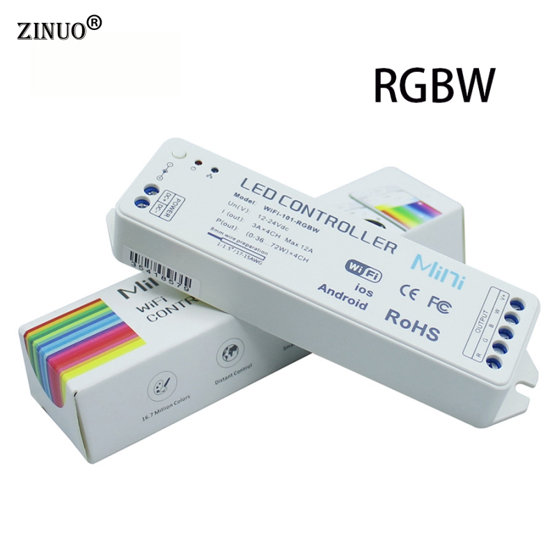 ZINUO RGBW LED Wifi Controller iOS/Android APP DC12-24V Smartphone control Music Timer Mode 16 million color For Led Strip Light