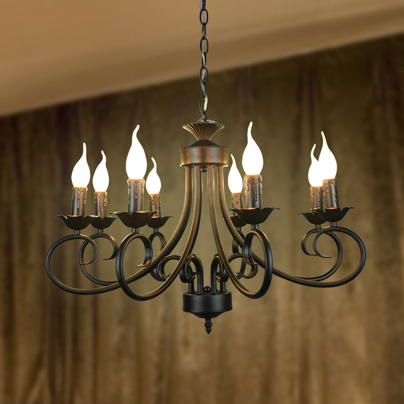 8 Heads Candle Chandelier retro style iron Blaze Flame shape dining room restaurant bar lighting