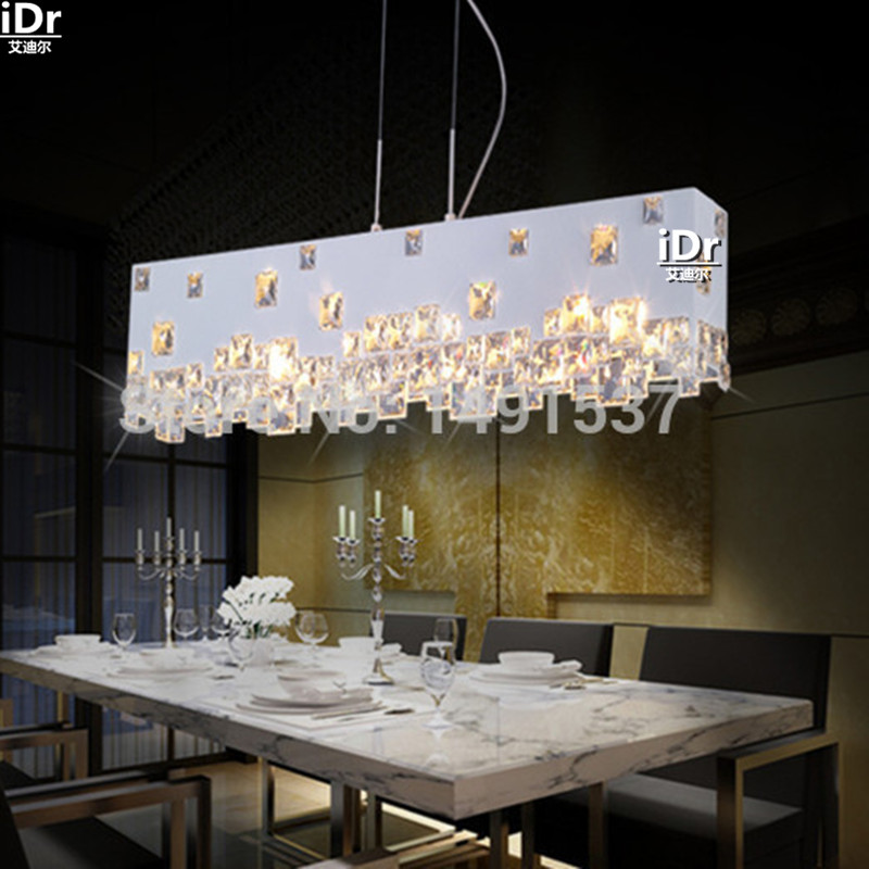 Modern minimalist fashion creative crystal chandelier lamp meal hanging den hotel restaurant bar rectangle free delivery