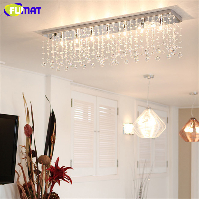 FUMAT K9 Crystal Chandelier Modern Rectangle LED G9 Art Deco Suspension Lighting Hotel Living Room Kitchen Dinning Lustre Lamps