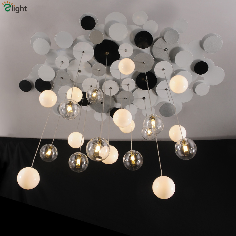 Nordic Creative LED Pendant Chandelier Lighting Lustre Glass Metal Bedroom G4 Led Chandeliers Lamp Clear Ball Led Hanging Light