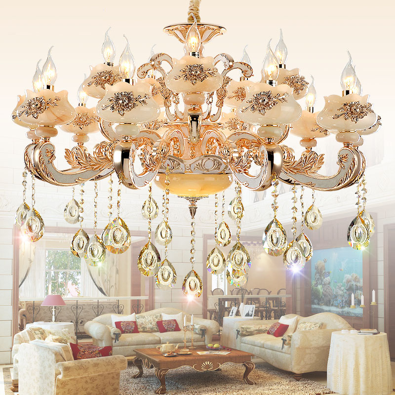 Art deco crystal chandelier lighting for Living room Luxury crystal lights LED gold crystal chandelier LED light bubls