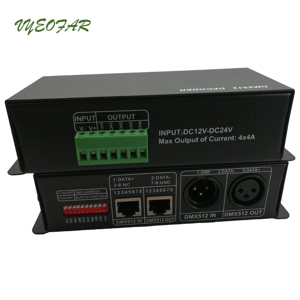 New 4CH DC12-24V Led RGBW DMX512 Decoder led DMX controller, RGB LED DMX512 decoder 4 Channel * 4A for LED Strip Light Usage