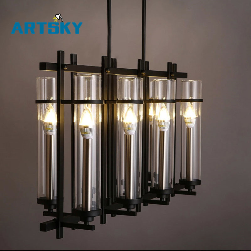 110V 220V American Industrial Art Vintage glass candle chandelier lamp Nordic lustre modern dining room kitchen restaurant light