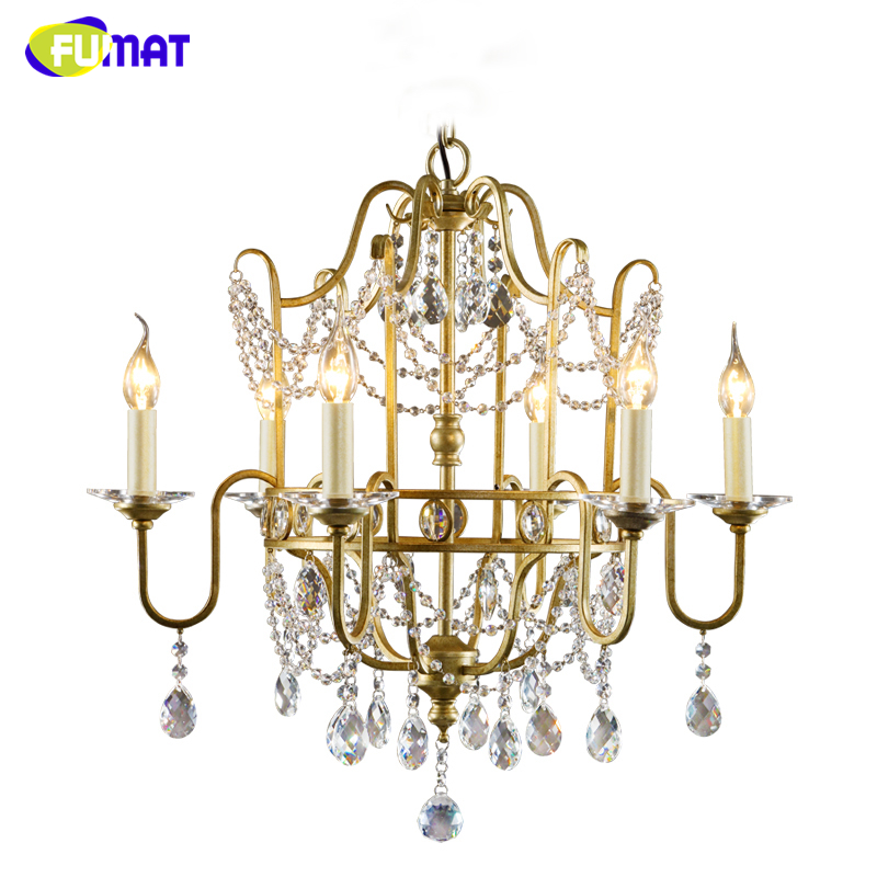 FUMAT American Pastroal K9 Crystal Chandelier Vintage Lights For Living Room Dining Room Brief European Style Crystal Chandelier