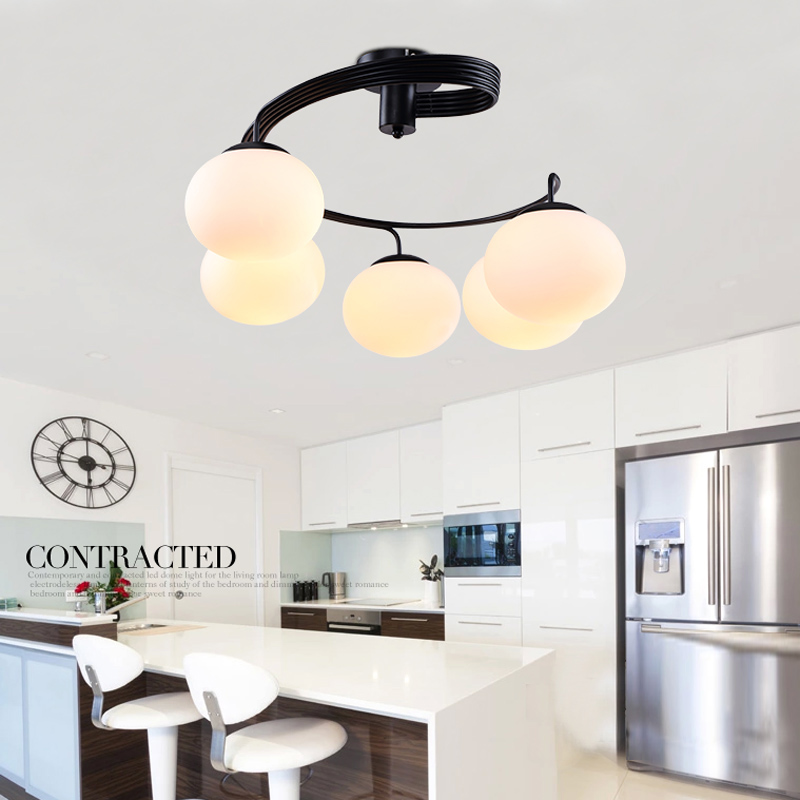 Modern Home Deco Peach DIY Glass Ball Chanderlier Light 3 or 5 pcs E27 Bulb Metal Black Painting Flush Mount Chandelier Lamp