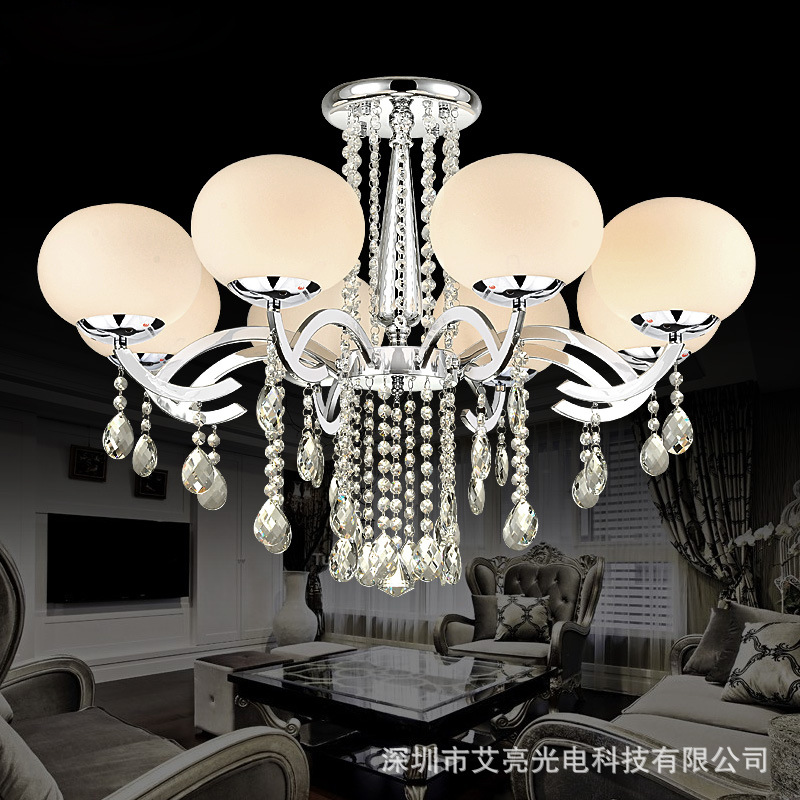 Modern Simple DIY crystal LED chandelier lamps home deco living room E27 glass ball chrome iron chandelier light fixture