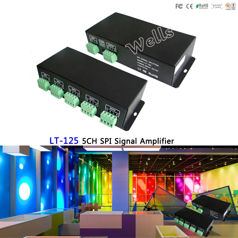 LT-125 5CH SPI Signal led Amplifier;DC12V SPI(TTL) signal amplifier CH SPI Power Repeater use with all IC LED Strip Light
