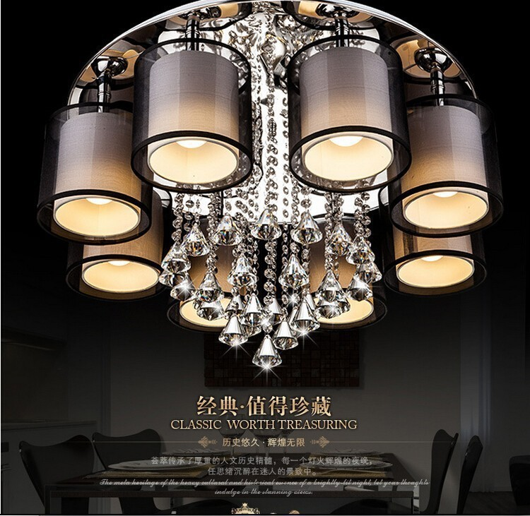 Modern remote control minimalist crystal LED chandelier living room cloth lamp home deco lustre crystal light