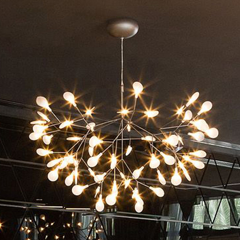 Nordic Modern Cherry Blossoms LED Chandelier Light Firefly Ceiling Lamp Fixtures Iron Branches Atmosphere Lighting AC 110-240V